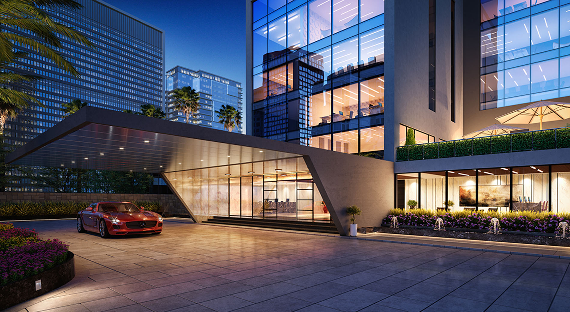 3d Modern Commercial Building Night View