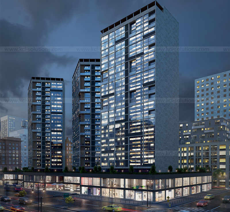 3D Commercial Building Night View