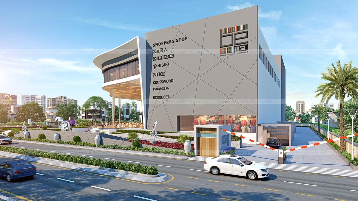 3D Commercial Building Side View Exterior Design