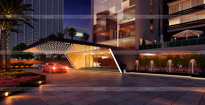 3D Residential Building Foyer Night View