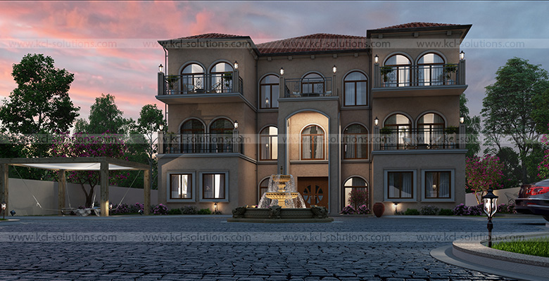 3D Residential Bunglow Night View