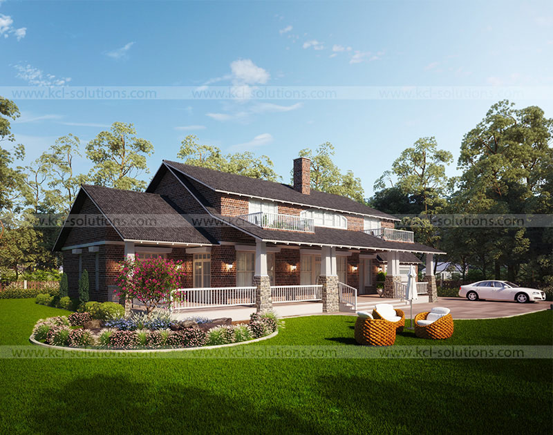 3D Residential House Side View
