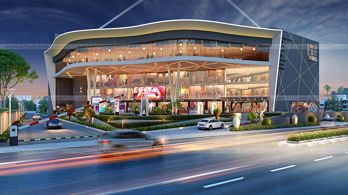 Commercial Shopping Mall Exterior Architectural Design