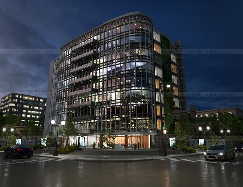 Modern Commercial Building Night View Design