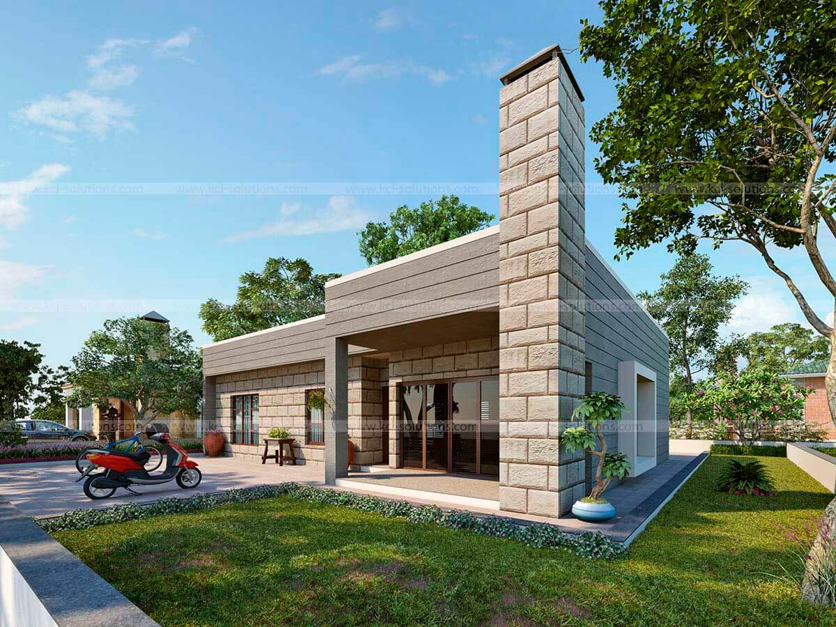 3D Small Residential Villa Architectural Design