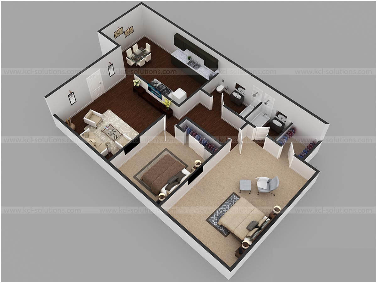 2BHK Residential Floor Plan