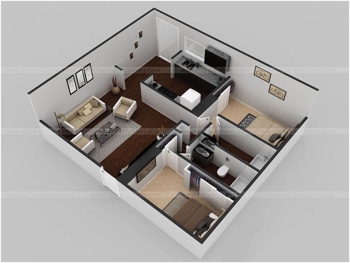 3D Residential Modern House Floor Plan