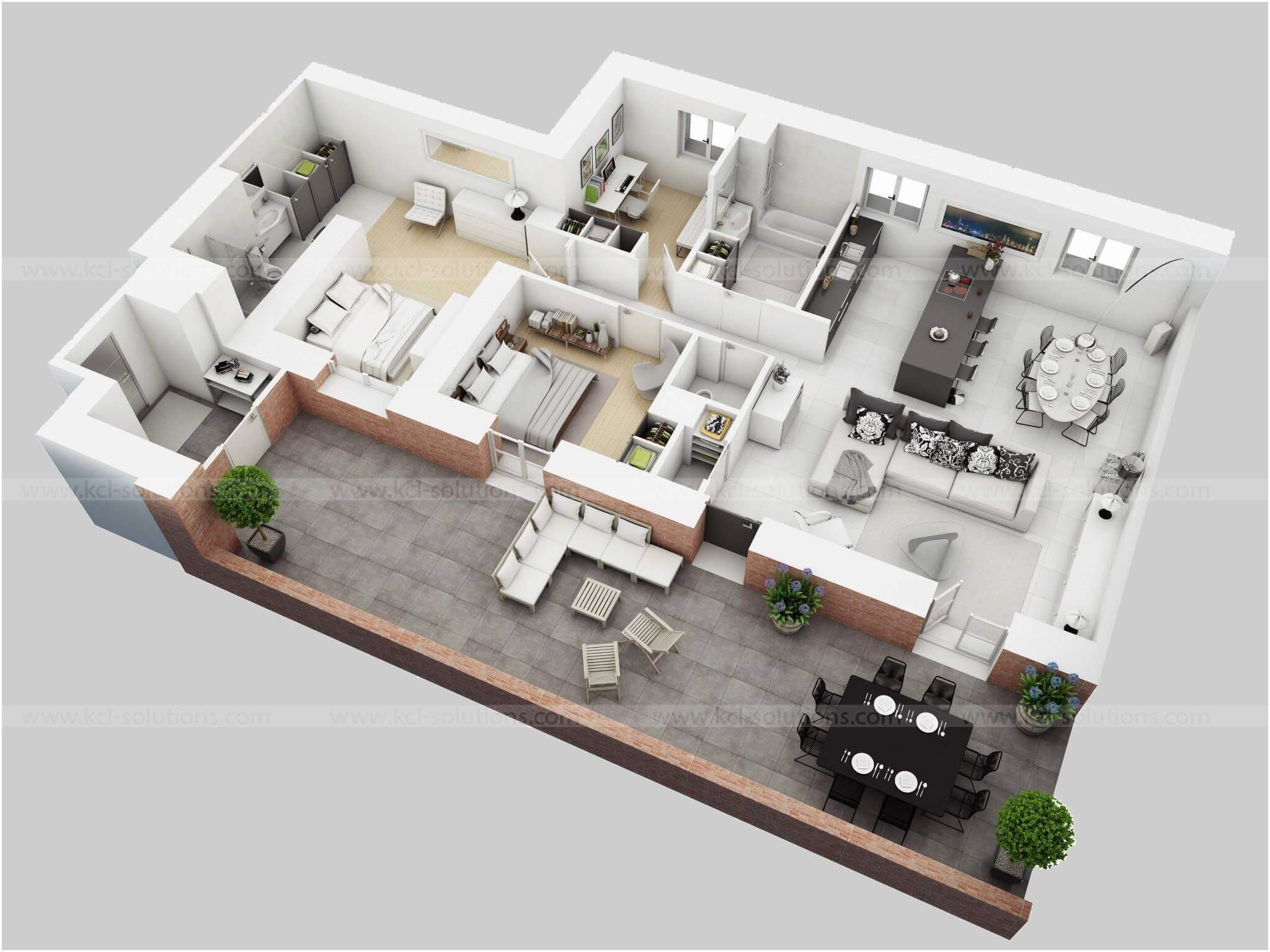 3D Residential House Floor Plan