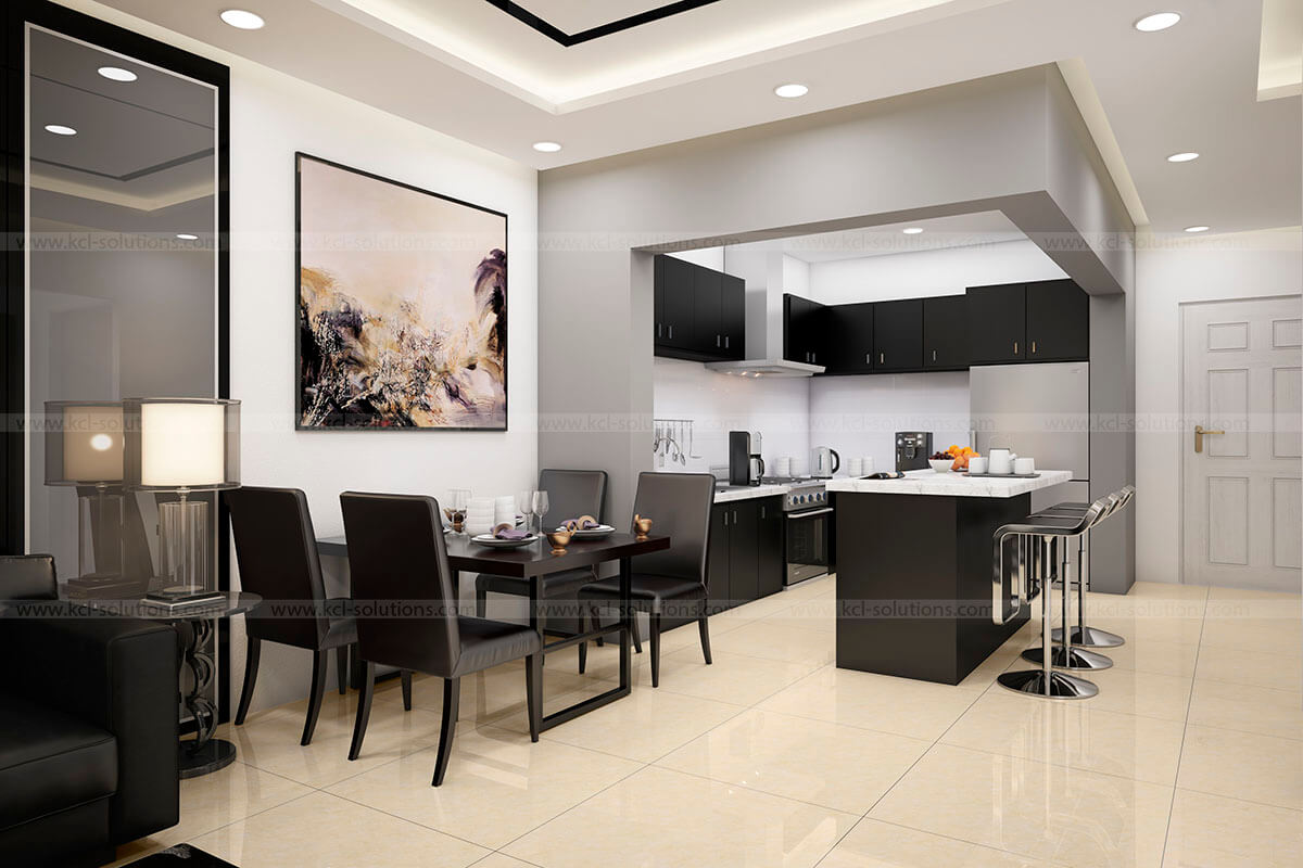 3D Kitchen Interior View Design