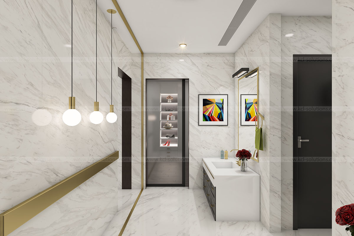 3D Modern Washroom Interior View