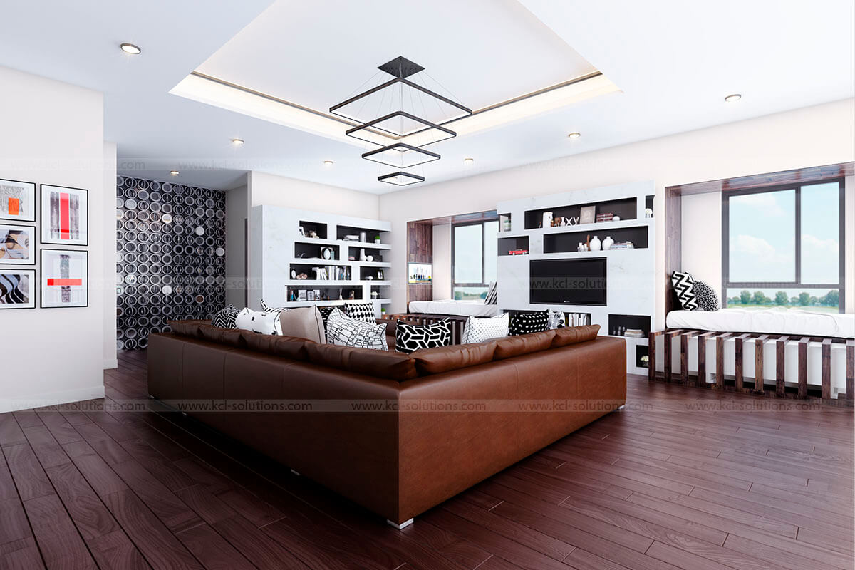 3D Residential Building Living Room Design