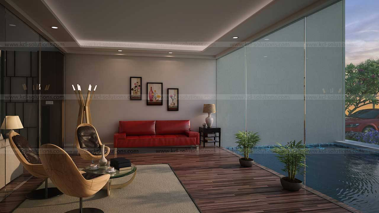3D Living Room Design Rendering