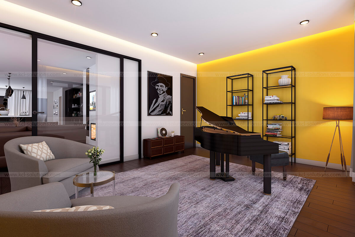 3D Music Room Interior Design